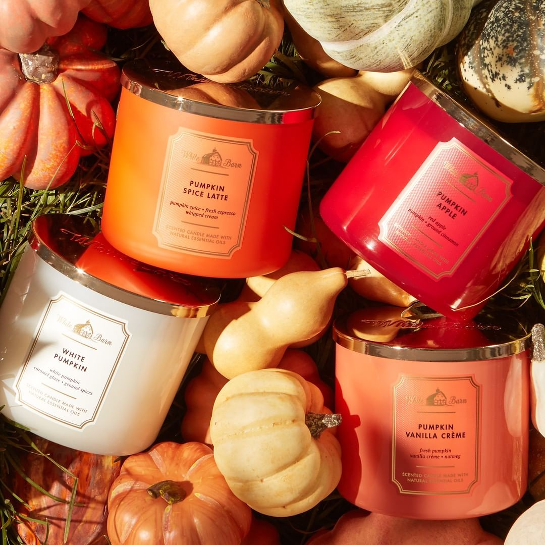 Pumpkin inspired candles from Bath & Body Works