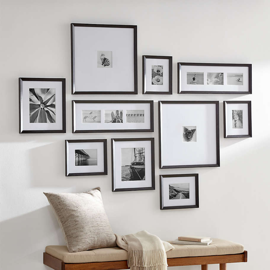 Wall with various sized frames