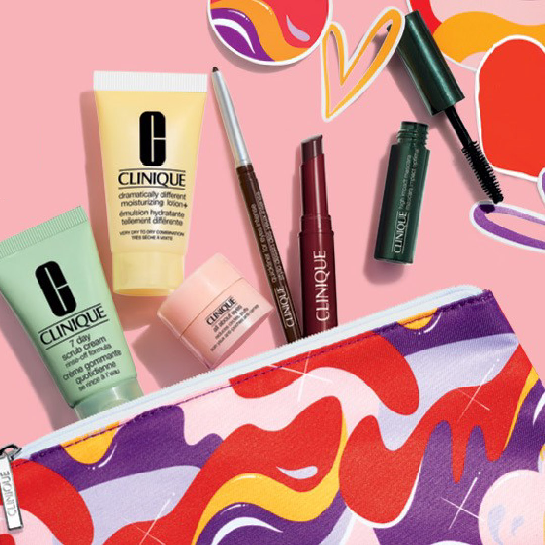 Clinique products coming out of a limited edition Clinique bag